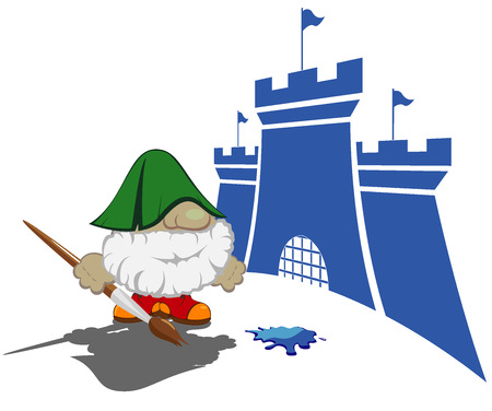 contry: funny cartoon character with paintbrush painting the castles vector illustration 4 Illustration