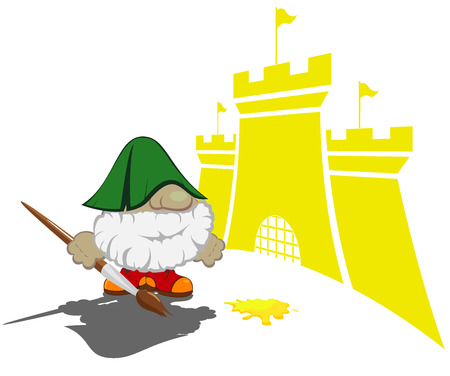 contry: funny cartoon character with paintbrush painting the castles vector illustration 3