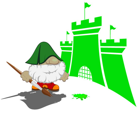 contry: funny cartoon character with paintbrush painting the castles vector illustration 2 Illustration