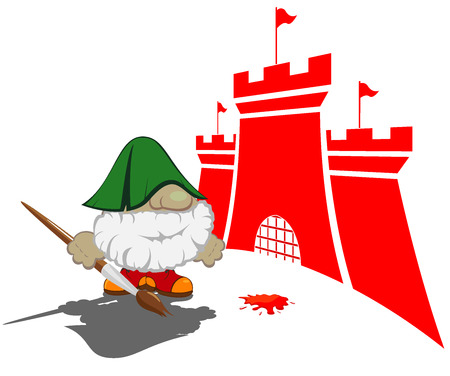 contry: funny cartoon character with paintbrush painting the castles vector illustration