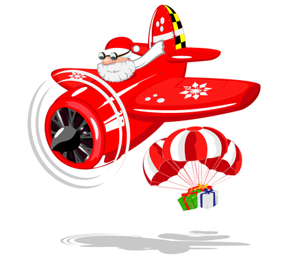Santa Claus on aircraft with gifts  vector illustration Vector