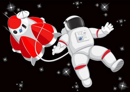 zero gravity: astronaut in outer space. vector illustartion Illustration