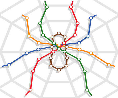 abstract metro map in form of spider. vector illustration Vector