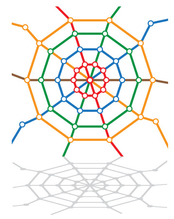 spider's web: abstract metro map in form of spiders web. vector illustration 2