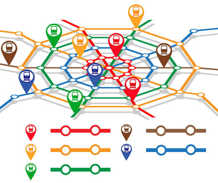 spiders web: abstract metro map in form of spiders web with markers of trains. vector illustration