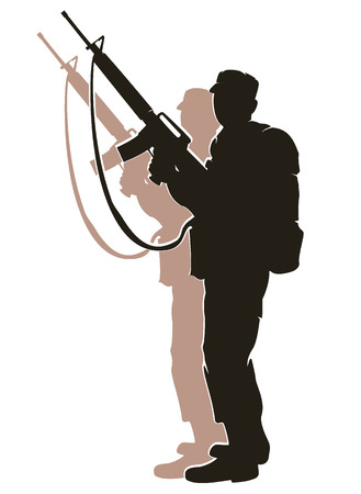 silhouette of soldier in action. vector 5