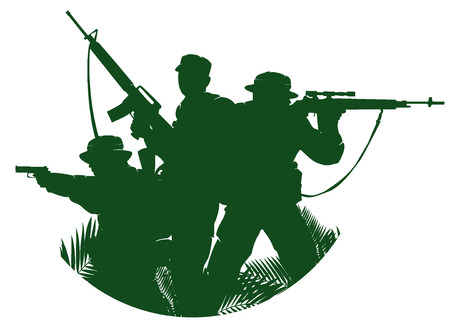 silhouette of soldiers in action. vector illustration 2 Illustration