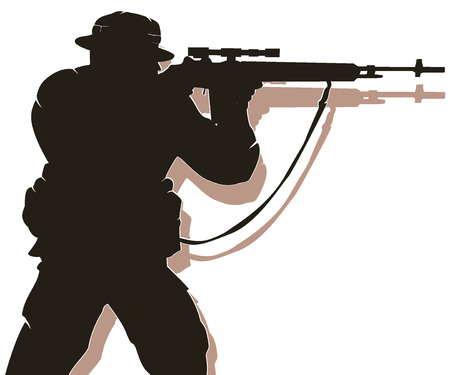 silhouette of soldier in action. vector 3 Illustration
