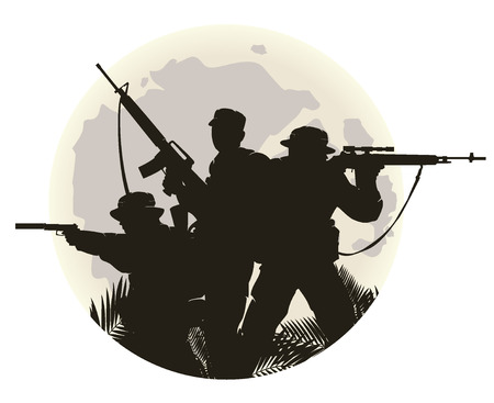 abstract silhouette: silhouette of soldiers in action. vector illustration