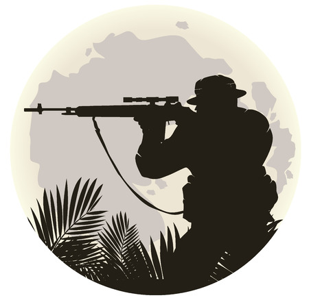 silhouette of soldier in action. vector 4
