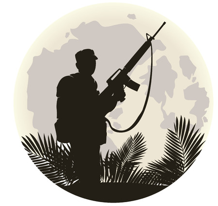 saboteur: silhouette of soldier in action. vector 6