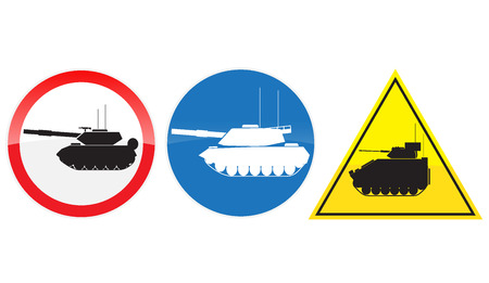 military tank signs.vector illustration