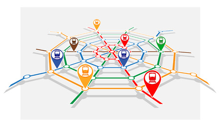 monitoring system: abstract transport network monitoring system. vector illustration 2 Illustration