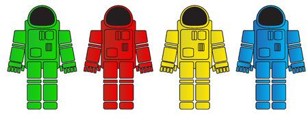 zero gravity: set of simple images of astronaut\