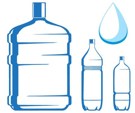 botellas vacias: botellas de agua. ilustraci�n vectorial