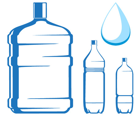 distilled: water bottles. vector illustration Illustration