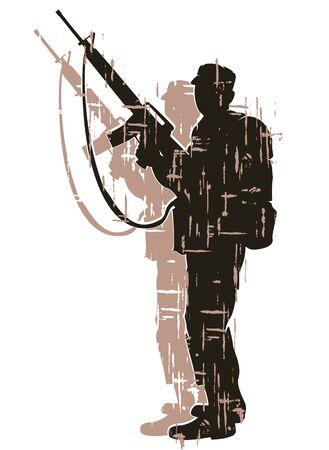 silhouet van soldaat in actie. vector 7