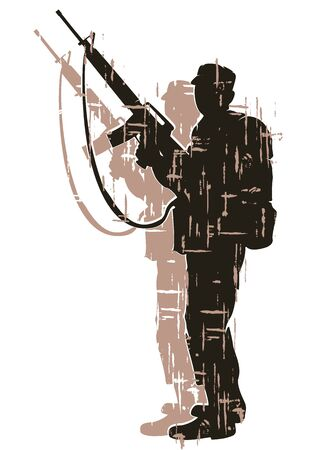 analogy: silhouette of soldier in action. vector 7