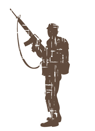 person silhouette: silhouettes of soldiers in grunge style. vector illustration