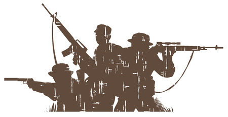 silhouettes of soldiers in grunge style. vector illustration 2