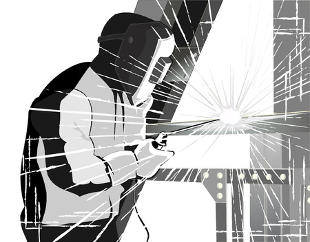 welder at work.grunge style vector Çizim