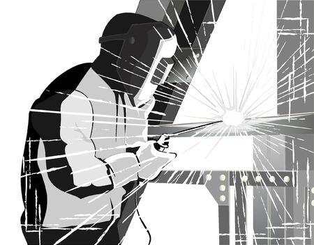 welder: welder at work.grunge style vector Illustration