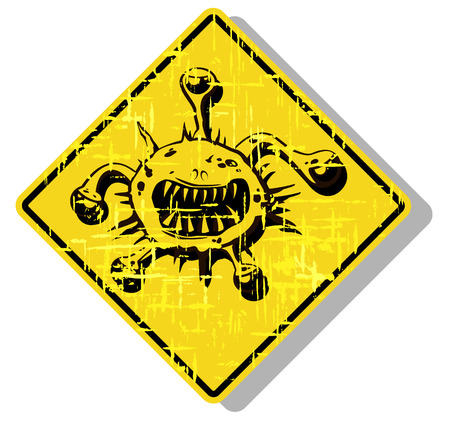 infectious waste: biohazard warning sign. abstract vector illustration Illustration