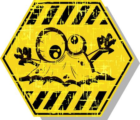 hazardous area sign: biohazard warning sign. abstract vector illustration 5 Illustration