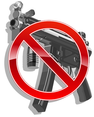 gun shot: no gun sign.  Illustration