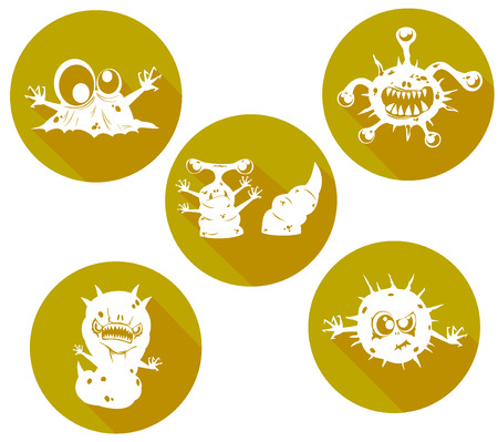 infectious waste: set of cartoon biohazard icons Illustration