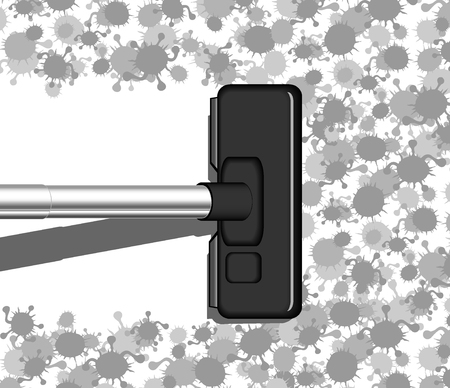 vacuum cleaner in action. abstract vector illustration 2