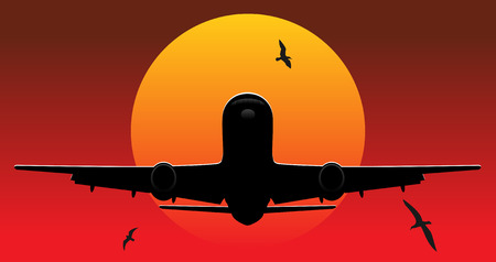 undercarriage: flying airplane. vector illustration Illustration