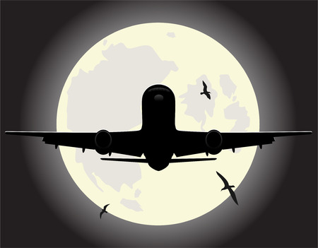 undercarriage: flying airplane. vector illustration 2