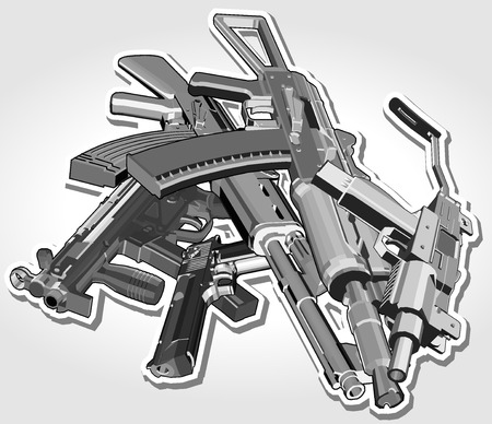 weapons: pile of weapons. vector illustration