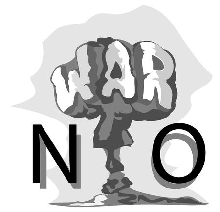 wojenne: Grzyb atomowy ma wojny. streszczenie ilustracji wektorowych