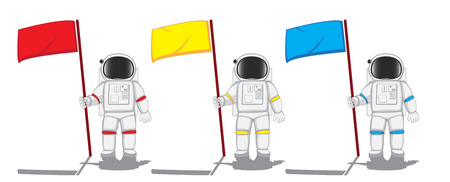 astronauts: three astronauts with flags. vector illustration Illustration