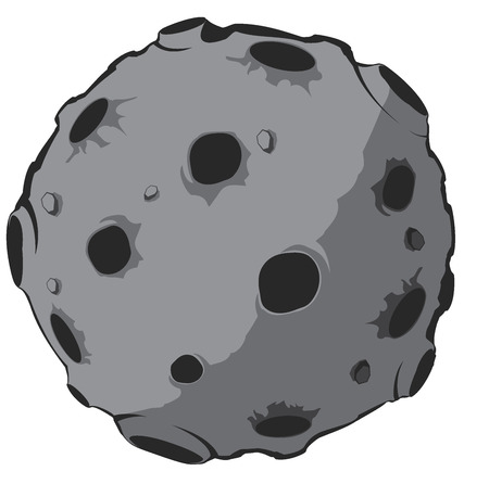 meteor crater: asteroid on white background. vector illustration 3