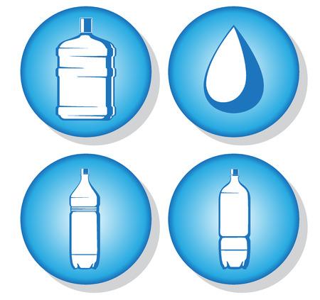 fiambres: botellas de agua iconos. ilustraci�n vectorial 2