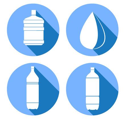 fiambres: botellas de agua iconos. ilustraci�n vectorial Vectores