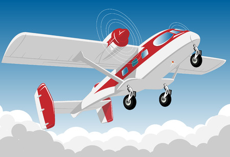 fuselage: flying aircraft with red stripe on fuselage. vector illustration