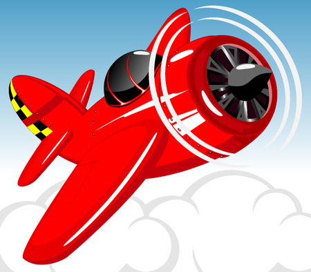 red cartoon aircraft. vector illustration