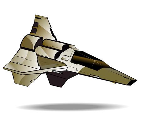 interceptor: image of futuristic fighter. vector illustration 2