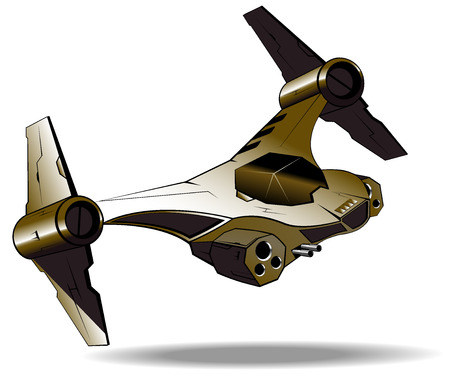 interceptor: image of futuristic fighter. vector illustration Illustration