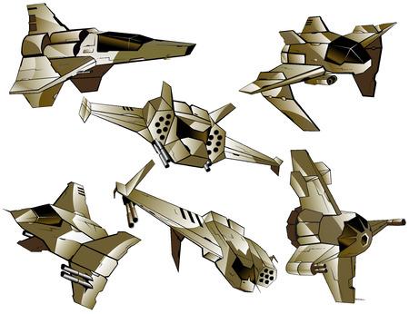 interceptor: set of futuristic fighters. vector illustration Illustration