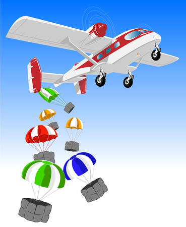 disaster relief: vector illustration of flying airplane and cargo on parachutes