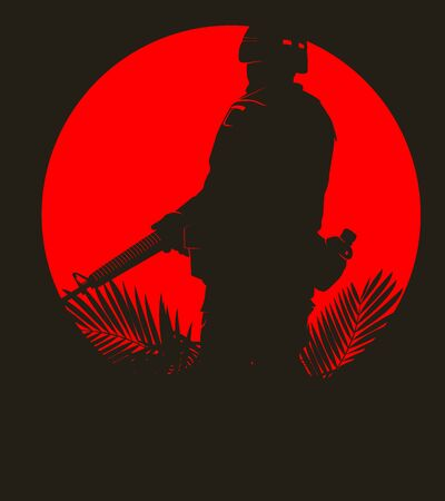saboteur: silhouette of soldier in action. vector 8 Illustration