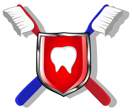 carious cavity: shield with crossed toothbrushes and image of tooth. vector illustration