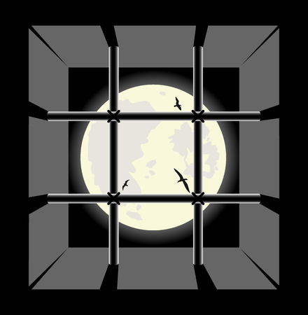 penitentiary: view from the prison cell window. vector illustration Illustration