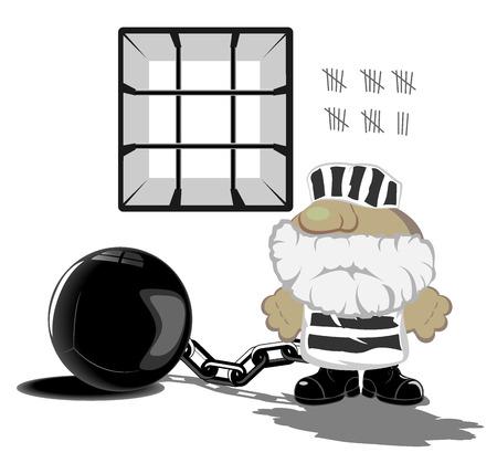 prisoner: vector illustration of prisoner in jail Illustration