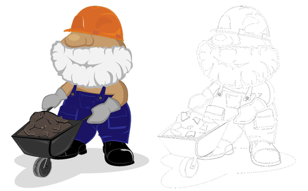 concrete background: cartoon worker. coloring book page.